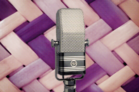 Microphone in front of weaving pattern